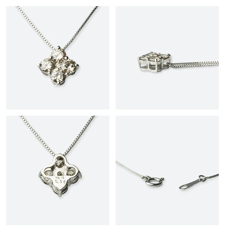 幸せのクローバーネックレス K18WG(ホワイトゴールド) ダイヤモンド0.50ct