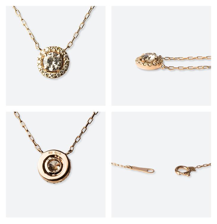 プレゼントにおすすめ パヴェライン1粒ネックレスK18 YG(イエローゴールド) ダイヤモンド 0.30ct